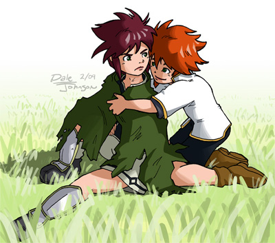 Young Luke gives Asch a hug.