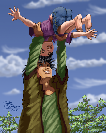 A father throws his son up into the air. (Artwork by Dale M.A. Johnson)
