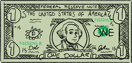 A stylized dollar bill.