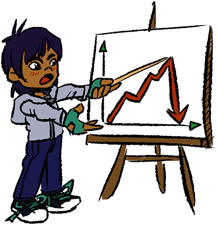 A cartoon of Ryder pointing at a sales chart.
