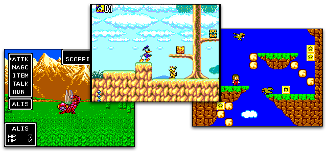 Screenshots from the Sega Master system