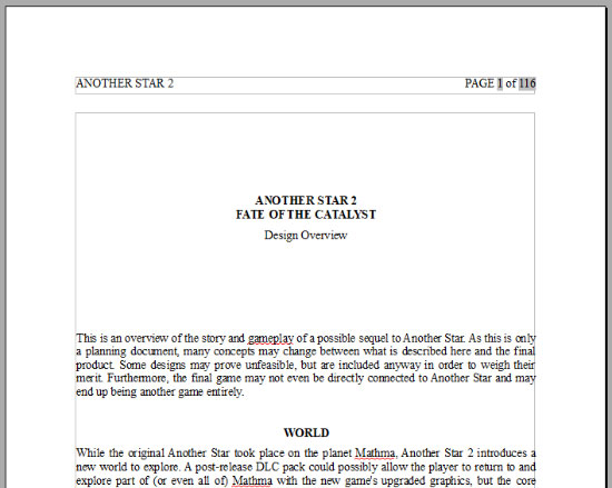 Another Star 2: Fate of the Catalyst design document