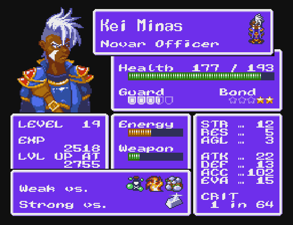 Character status screen mock-up for Another Star 2.