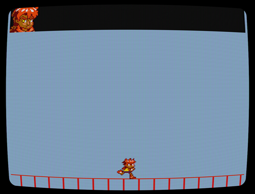 Prototype platformer screenshot, with CRT effect.