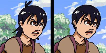 """Two versions of Sarin from webcomic """"Out of This World"""""""